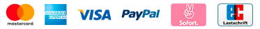 Mastercard, American Express, Visa, PayPal, Sofort, EC